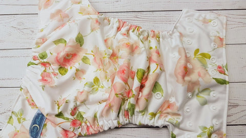 Delicate Roses (white awj & snaps) <br>Performance Knit Traditional, One Size Pocket Diaper<br>Instock and Ready to Ship