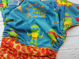 Turtle Time (red awj & snaps) <br>Performance Knit Traditional, One Size Pocket Diaper<br>Instock and Ready to Ship