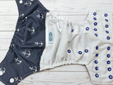 Navy Anchors (white outer, navy inner, two toned snaps; white caps, royal pieces) <br>Wrap Around, One Size Pocket Diaper<br>Instock and Ready to Ship
