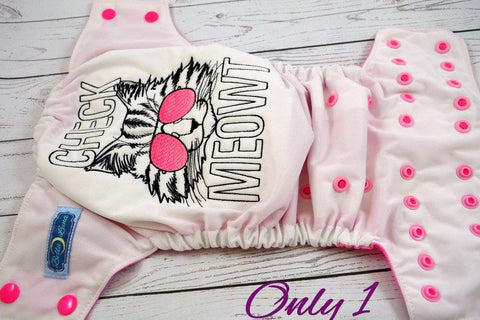 Check Meowt Raspberry (white outer, hot pink caps / light pink pieces)<br>Embroidered, One Size Pocket Diaper<br>Instock and Ready to Ship