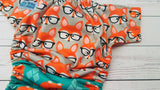 So Many Foxes (orange awj & snaps) <br>Performance Knit Traditional, One Size Pocket Diaper<br>Instock and Ready to Ship