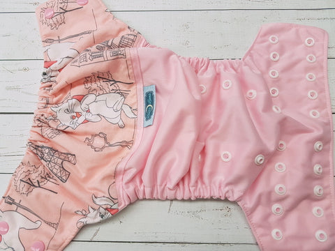 Pretty Pink Kitty (light pink pul, white awj, two toned snaps; light pink caps, white pieces) <br>Wrap Around, One Size Pocket Diaper<br>Instock and Ready to Ship