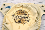 Those Who Wander Embroidered (ivory outer, two-toned snaps brown / bronze piece)<br>Embroidered, One Size Pocket Diaper<br>Instock and Ready to Ship