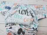 Peach and Seaspray Love (seaspray awj & snaps) <br>Performance Knit Traditional, One Size Pocket Diaper<br>Instock and Ready to Ship