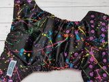 Neon Paint Splatter (violet awj & snaps) <br>Traditional, One Size Pocket Diaper<br>Instock and Ready to Ship