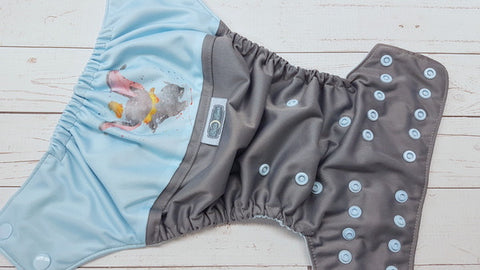 Watercolor Big Ears (gray pul, light blue awj & snaps) <br>Wrap Around, One Size Pocket Diaper<br>Instock and Ready to Ship