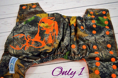 Wooded Deer Orange  ( printed pul outer , orange snaps ) <br>Embroidered, One Size Pocket Diaper<br>Instock and Ready to Ship