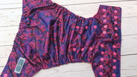Midnight Cherry Blossom (magenta awj, hot pink snaps) <br>Traditional, One Size Pocket Diaper<br>Instock and Ready to Ship