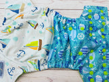 Sailboats and Seashores (spring green awj, apple snaps) <br>Performance Knit Traditional, One Size Pocket Diaper<br>Instock and Ready to Ship