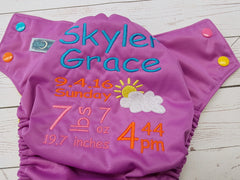 Sun and Cloud, Custom Birth Announcement<br>One Size Pocket Diaper