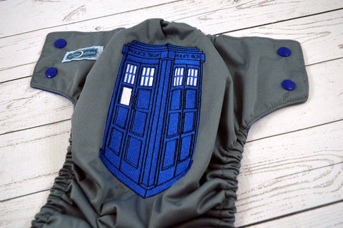 Police Box ( gray outer , royal snaps )  <br>Embroidered, One Size Pocket Diaper<br>Instock and Ready to Ship