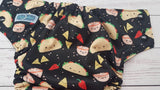 Taco Fiesta (black awk & snaps) <br>Performance Knit Traditional, One Size Pocket Diaper<br>Instock and Ready to Ship