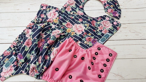 Navy Roses <br>Waterproof Boutique Bib and One Size Pocket Diaper Set<br>Instock and Ready to Ship