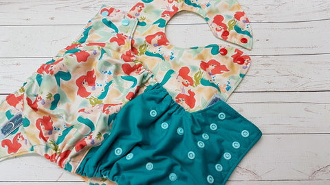 Under The Sea <br>Waterproof Boutique Bib and One Size Pocket Diaper Set<br>Instock and Ready to Ship