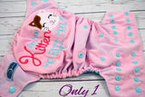 You Kitten Me?  Light Pink  ( seapray outer , navy snaps ) <br>Embroidered, One Size Pocket Diaper<br>Instock and Ready to Ship