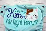 You Kitten Me?  Seaspray ( seapray outer , navy snaps )  <br>Embroidered, One Size Pocket Diaper<br>Instock and Ready to Ship