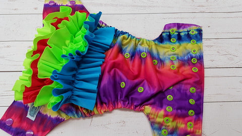 Bright Neon WITH Coordinating Ruffle (magenta awj, two toned snaps; violet caps, apple pieces) <br>Traditional, One Size Pocket Diaper<br>Instock and Ready to Ship