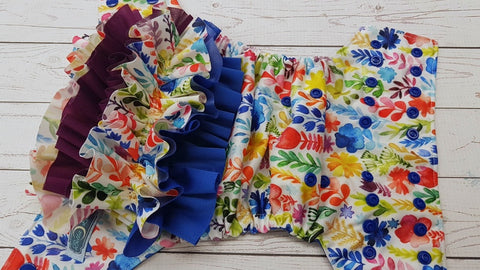 Royal Watercolor Floral WITH Coordinating Ruffle (royal blue awj & snaps) <br>Traditional, One Size Pocket Diaper<br>Instock and Ready to Ship