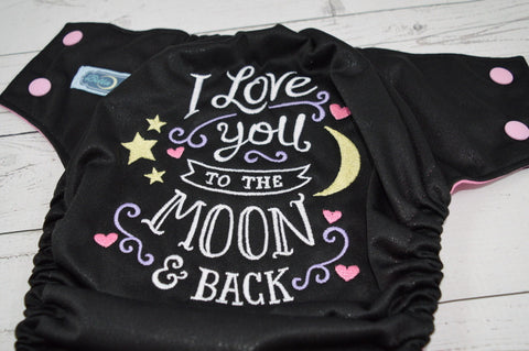 To the Moon & Back - Raspberry ( black outer, light pink caps / hot pink pieces) <br>Embroidered, One Size Pocket Diaper<br>Instock and Ready to Ship