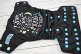 To the Moon & Back - Aqua (black outer, seaspray caps / aqua pieces)  <br>Embroidered, One Size Pocket Diaper<br>Instock and Ready to Ship