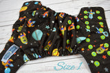Star Ship ( two-toned snaps - aqua caps / apple pieces) <br>Traditional, One Size Pocket Diaper<br>Instock and Ready to Ship