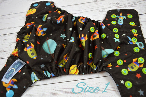 Newborn Star Ship ( two-toned snaps -aqua caps / apple pieces )<br>Traditional Size One Pocket Diaper<br>Instock and Ready to Ship