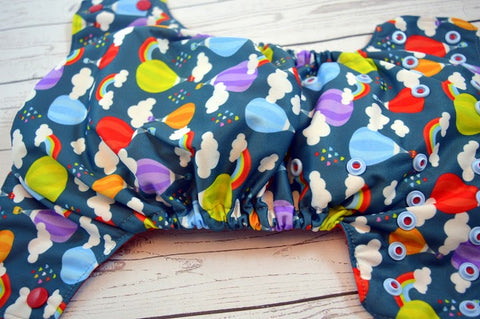 Hot Air Balloons (two-toned snaps - red caps / light blue pieces)<br>Traditional, One Size Pocket Diaper<br>Instock and Ready to Ship