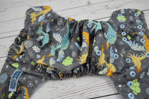 Dusty Blue Dragon (two-toned snaps-  silver snaps / light blue pieces) <br>Traditional, One Size Pocket Diaper<br>Instock and Ready to Ship