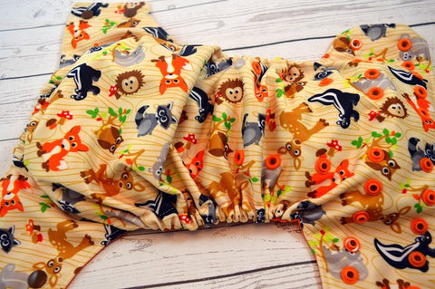 Woodland Cuties ( two-toned snaps - brown caps / orange peces)<br>Traditional, One Size Pocket Diaper<br>Instock and Ready to Ship