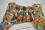 POW Orange ( two-toned snaps- aqua caps / orange pieces) <br>Traditional, One Size Pocket Diaper<br>Instock and Ready to Ship
