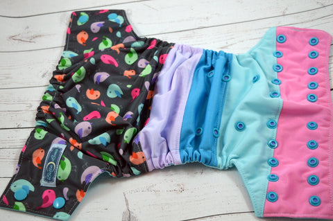 Tweetie Pie (two-toned snaps - medium purple caps / aqua pieces)<br>Bella Bum Scrappy, One Size Pocket Diaper<br>Instock and Ready to Ship