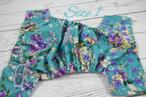 Newborn Baby's Breath ( two-toned snaps-  violet caps / medium purple pieces) <br>Traditional Size One Pocket Diaper<br>Instock and Ready to Ship