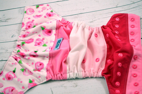 Rosebud (two-toned snaps- light pink caps / hot pink pieces)<br>PK Wrapped Crazy Scrappy, One Size Pocket Diaper<br>Instock and Ready to Ship