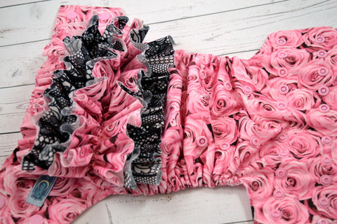 *RESERVED* Pink Roses with Coordinated Ruffles (light pink snaps) <br>Traditional, One Size Pocket Diaper<br>Instock and Ready to Ship for Amber Valderrama
