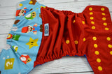 Super Plumber (red outer, marigold snaps)  <br>Wrap Around, One Size Pocket Diaper<br>Instock and Ready to Ship