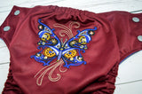 Clockwork Butterfly (burgundy outer, silver snaps)<br>Embroidered, One Size Pocket Diaper<br>Instock and Ready to Ship