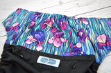 Wild Lotus with Ruffle Snaps (black outer, two-toned snaps -violet caps / royal pieces) <br>Wrap Around, One Size Pocket Diaper<br>Instock and Ready to Ship