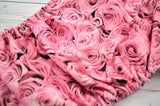 Pink Roses (light pink snaps) <br>Traditional, One Size Pocket Diaper<br>Instock and Ready to Ship