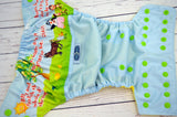 Boom Boom (Outer- Light Blue, Inner- Citron, Snaps- Apple)<br>Wrap Around, One Size Pocket Diaper<br>Instock and Ready to Ship