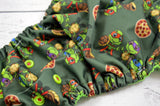 Newborn/Size 1- Little Pizza (two-toned snaps - red cap / apple piece)<br>Traditional Pocket Diaper<br>Instock and Ready to Ship