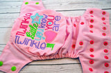 Twinkle Twinkle (light pink outer, two-toned snaps - apple caps / hot pink pieces)<br>Embroidered, One Size Pocket Diaper<br>Instock and Ready to Ship