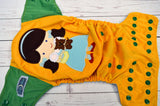 Yellow Brick Road (marigold pul, light blue awj, kelly snaps) <br>Embroidered, One Size Pocket Diaper<br>Instock and Ready to Ship