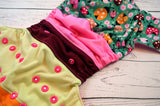 Ladybug Luncheon (two-toned snaps - white caps / hot pink pieces)<br>Bella Bum Scrappy, One Size Pocket Diaper<br>Instock and Ready to Ship