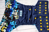 Star Tribe (navy outer, two-toned snaps - marigold caps / aqua pieces) <br>Wrap Around, One Size Pocket Diaper<br>Instock and Ready to Ship