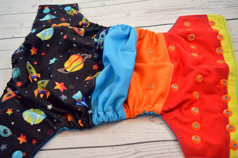 Out of this Atmosphere (two-toned snaps - aqua caps / orange pieces)<br>Bella Bum Scrappy, One Size Pocket Diaper<br>Instock and Ready to Ship
