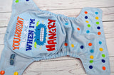 Light Blue Hangry (light blue pul, red awj, orange, royal, apple, marigold, aqua alternating snaps) <br>Embroidered, One Size Pocket Diaper<br>Instock and Ready to Ship
