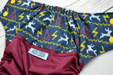 HP Classic Sweater (burgundy outer, marigold snaps) <br>Wrap Around, One Size Pocket Diaper<br>Instock and Ready to Ship