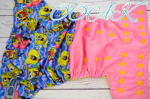 OOAK Pink Underwater Sponge Half & Half  (Inner- Citron, Snaps Marigold)<br>Traditional, One Size Pocket Diaper<br>Instock and Ready to Ship