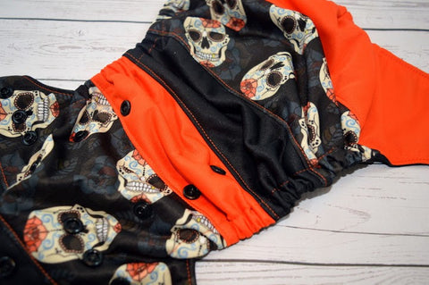 Dusky Rose Skulls (black snaps)<br>Boutique Scrappy, One Size Pocket Diaper<br>Instock and Ready to Ship