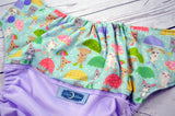 April Showers (lavender outer, two-toned snaps - lavender caps / seaspray piceces) <br>Wrap Around, One Size Pocket Diaper<br>Instock and Ready to Ship